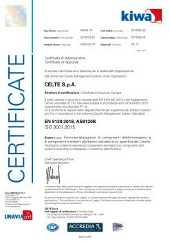 Celte completa con successo l'audit AS9120B